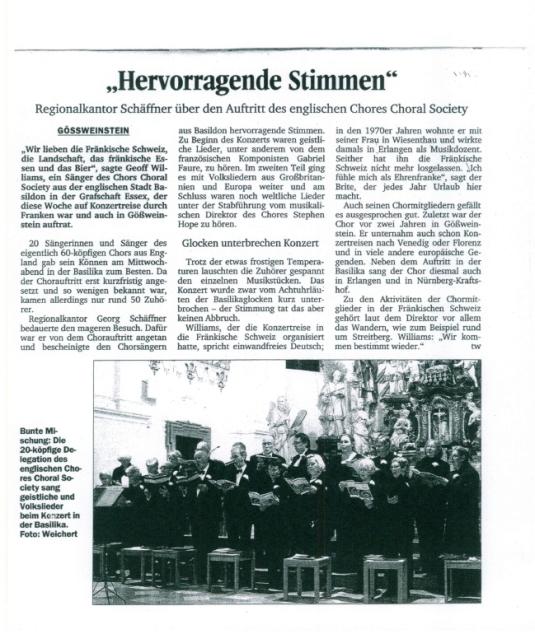 Nordbayerische Kurier concert report